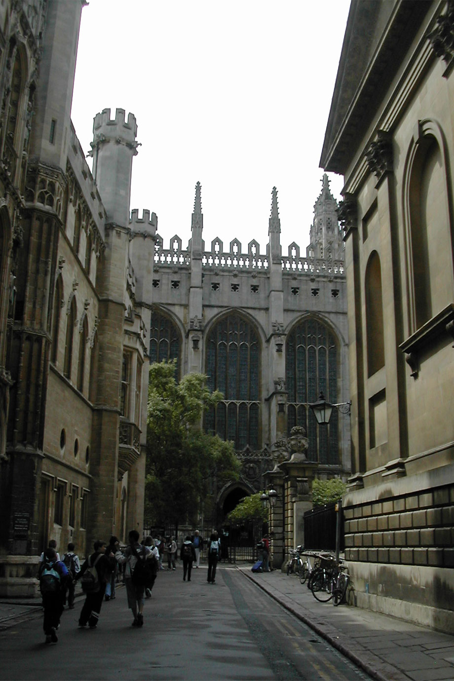 The view down Trinity Lane towards King's College Chapel with Clare College Chapel to the right.