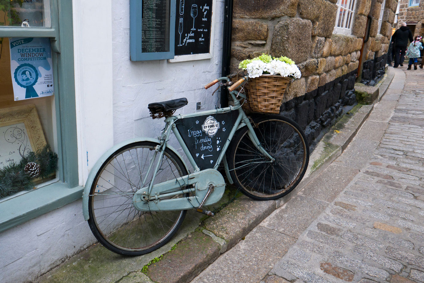 Bicycle outside shop in St. Ives, Cornwall